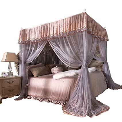 Nattey 4 Corner Bed Curtain Canopy Net Bed Canopies Princess Style Bedroom Decoration For Adults Girls California King Coffee And Gray