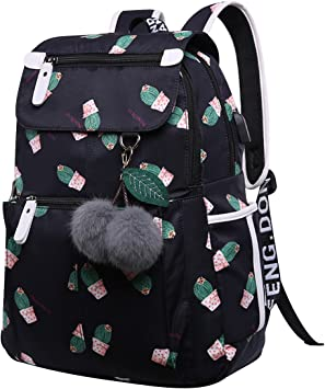 Mochilas Escolares Juveniles Mochila Escolar Niña Mochilas Colegio Instituto Chica Estampado Mochilas con USB para Universidad Casual Grandes Mochila Ordenador Portatil PC Viajar Cactus: Amazon.es: Equipaje