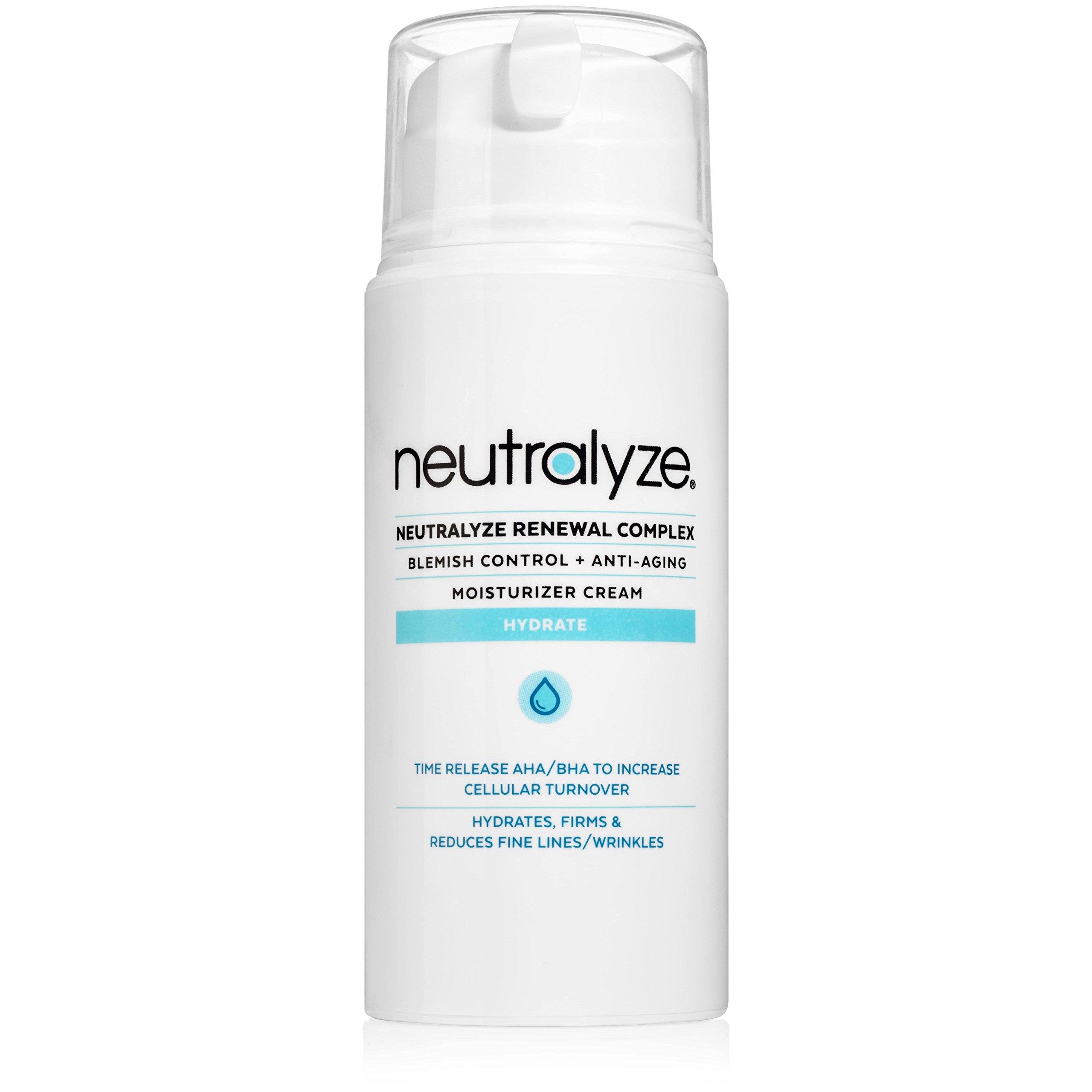 Neutralyze Renewal Complex - Maximum Strength Acne Moisturizer Cream with Time-Released 2% Salicylic Acid + 1% Mandelic Acid + Nitrogen Boost Skincare Technology (3.4 oz)