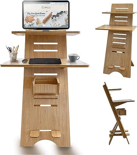 Best home office desk: Modern Height Adjustable Sit to Stand Up Desk. Large Wood Desk Spaces That Easily Adjust