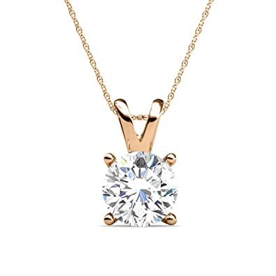 0.04 ctw PARIKHS Round Cut Blue Diamond Solitaire Pendant AAA Quality in Yellow Gold