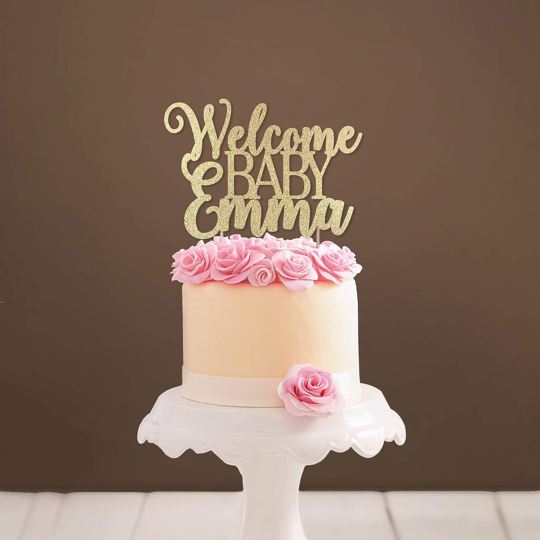 Custom Welcome Baby Cake Topper Glittery Baby Shower Cake Topper Girl Baby  Shower Party Decoration Baby Boy Shower Cake Topper