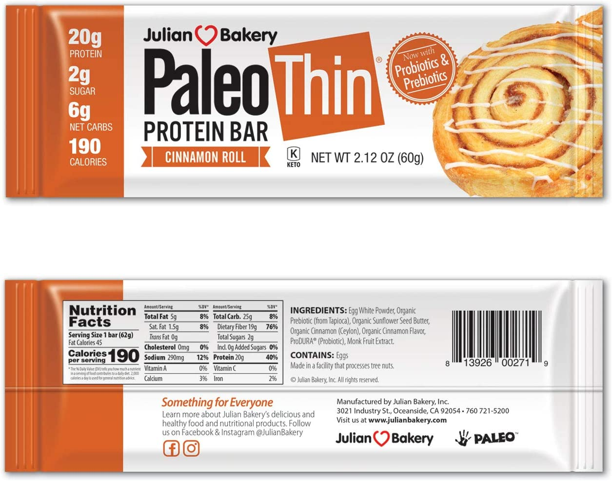 Julian Bakery Paleo Thin Protein Bar | Cinnamon Roll | Egg White Protein | 20g Protein | 6 Net Carbs | 12 Bars
