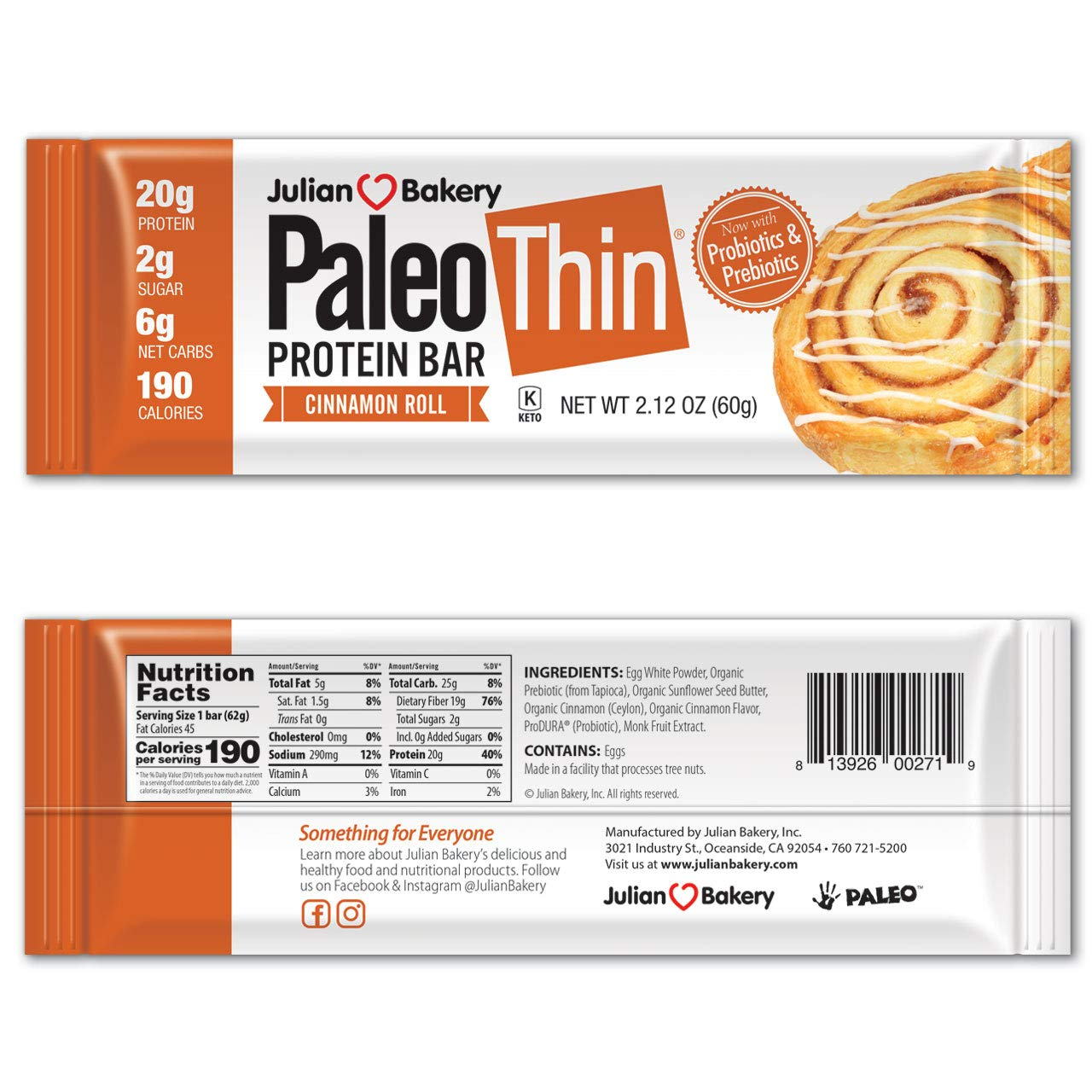 Paleo Protein Bar® (Cinnamon Roll) 12 Bars (20g Egg White Protein 6 Net Carbs w/Probiotics) by Julian Bakery