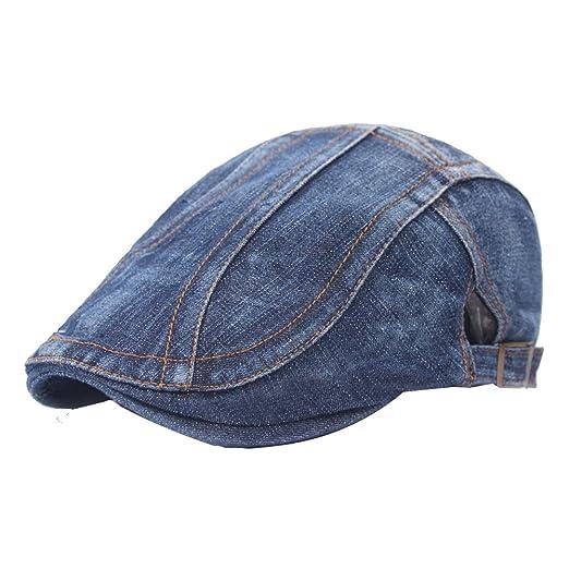 eb085a08800e Yosang Classic Adjustable Newsboy Cap Jeans Ivy Flat Hat Blue at ...