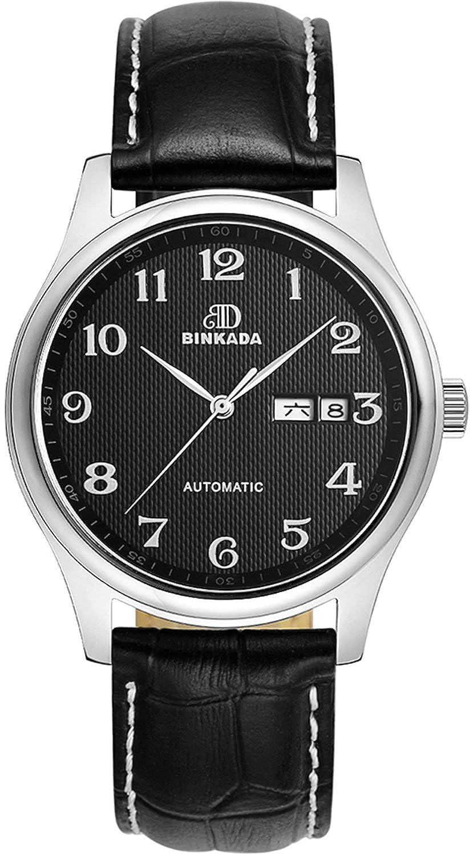BINKADA Gents Automatic Mechanical Movementブラックダイヤルメンズ腕時計# 7001b02 – 2 B014YAR8T2