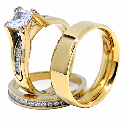 441afcac42 Amazon.com: Lanyjewelry Couples Ring Set Womens 14K Gold Plated Princess CZ  Engagement Ring Mens Gold Plated Flat Wedding Band - Size W5M7: Jewelry