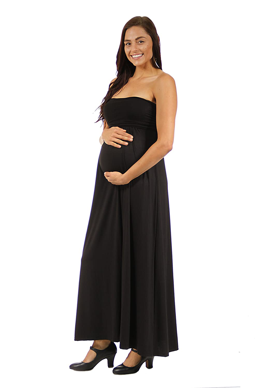 87d6da888f4 24 7 Comfort Apparel Maternity Dress Strapless Maxi Tube Dress Pregnancy  Clothes -  Made in USA  at Amazon Women s Clothing store
