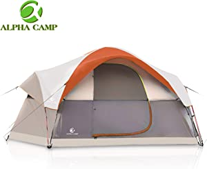 ALPHA CAMP 6 Person Family Tent Dome Camping Tent with Carry Bag and Rainfly - 14' x 10'