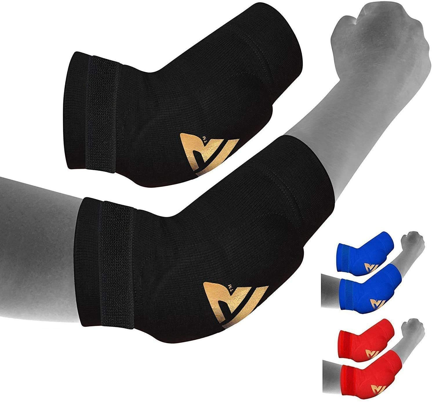 RDX MMA Elbow Support Brace Sleeve Pads Guard Bandage Elasticated Shield Protector,Black,Large, Large, Black: Industrial & Scientific
