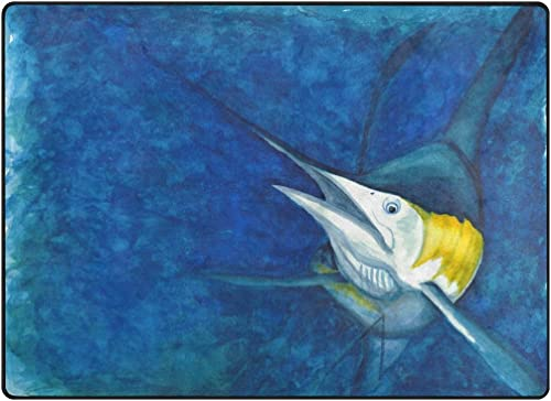 My Little Nest Underwater Ocean Marlin Design Area Rug 4'10″ x 6'8″