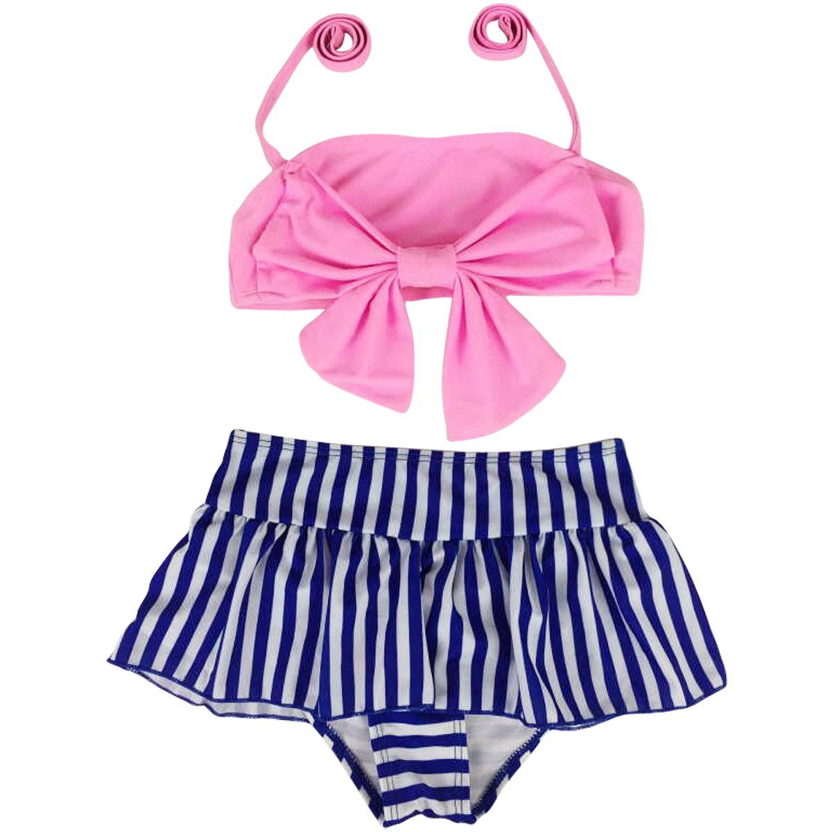 Jastore Baby Girls Big Bowknot Stripe 2 Pieces Swimwear Swimsuits Beach Wear