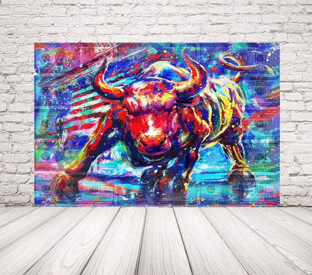 "FaiCai Graffiti Charging Bull Over The Dollar Bills Canvas Prints Motivational Poster 100 USD Money Wall Art Modern Red Blue Wall Street Bull Painting for Office Home Wooden Framed 'Treasure' 28""x40"""