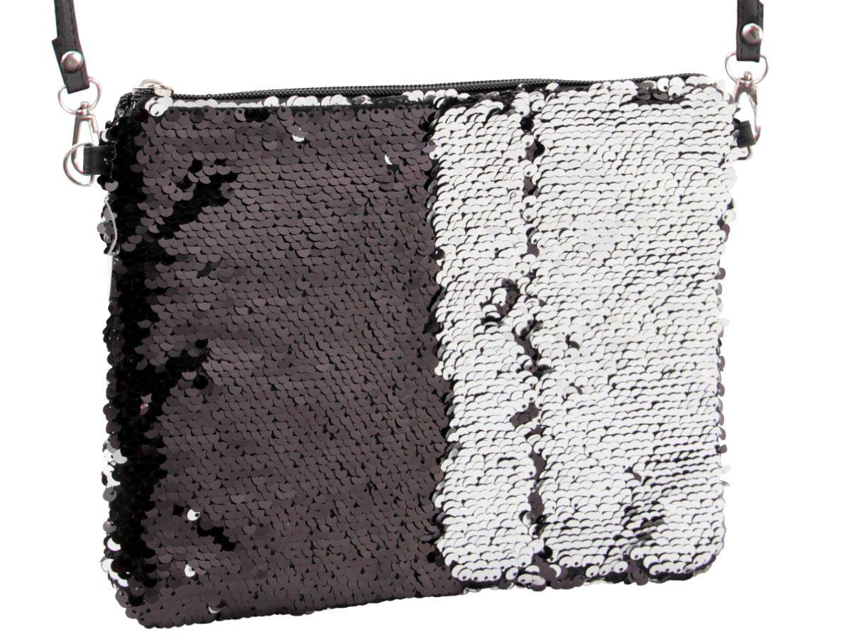 Pailletten Handtasche Clutch 23 cm x 20 cm Umhä ngetasche Abendtasche mit Trä ger Wendepailletten Damen Party Tasche Kuriertasche von Alsino, Variante wä hlen:MEB-P050 tü rkis rosa