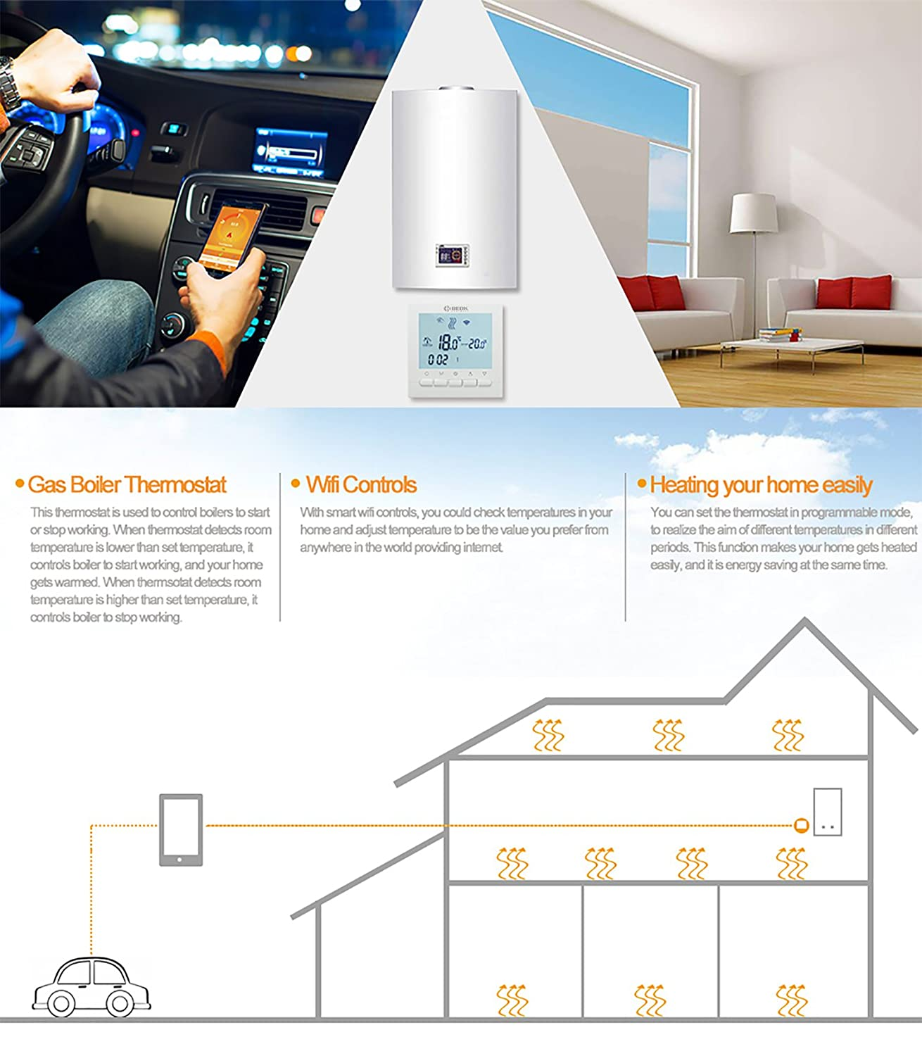 Beok Thermostat Bot 313 Wifi Gas Boiler Programmable Lcd Wiring Diagram Besides Honeywell Room Temperature Controller Free App Remote Online Control By Smartphone Ac220v 3a