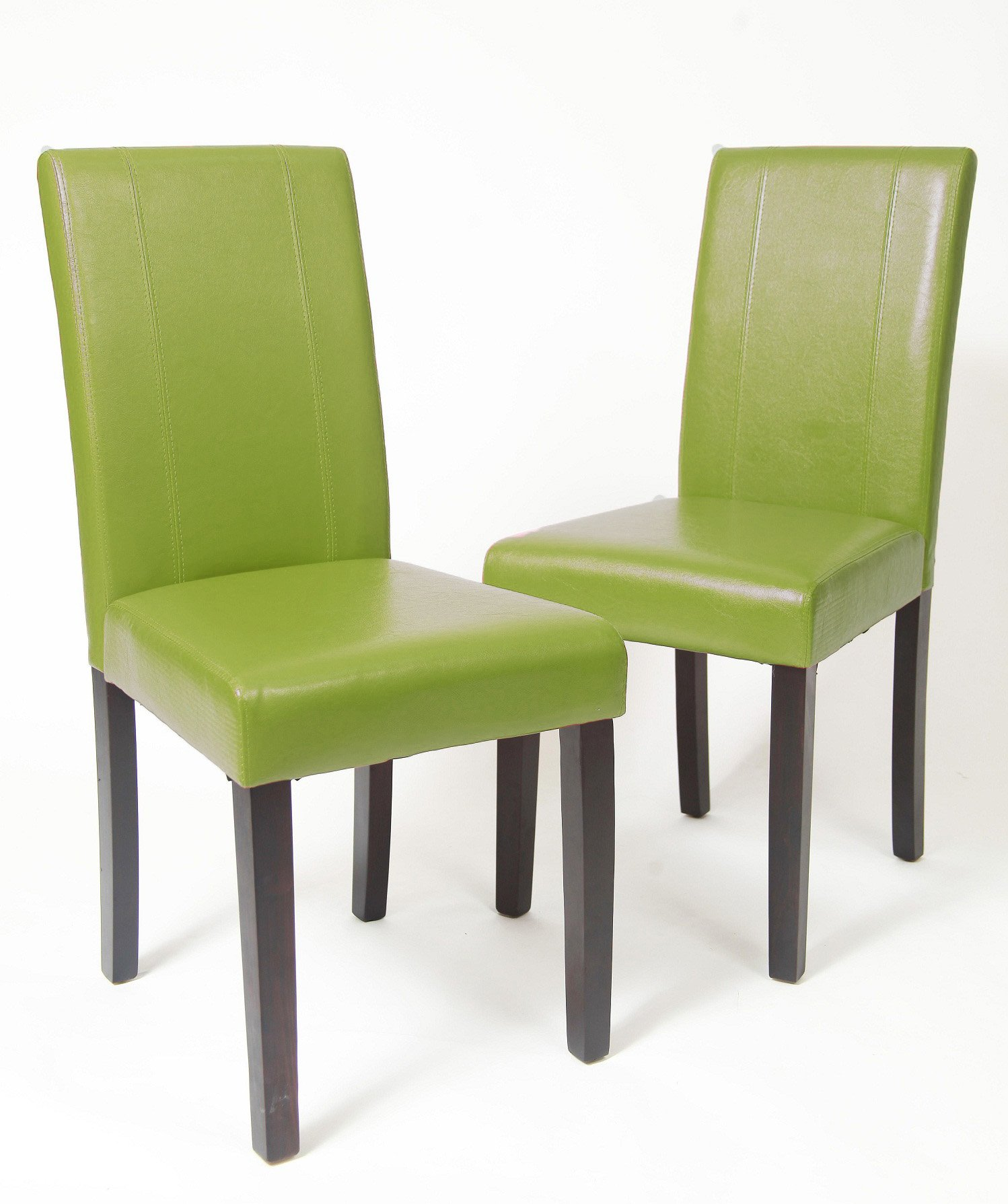 Roundhill Furniture Urban Style Solid Wood Leatherette Padded Parson Chair, Green, Set of 2