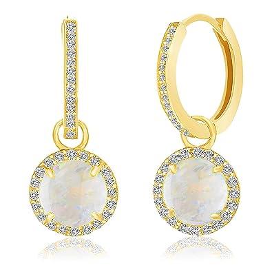 e496462e7 Amazon.com: LESA MICHELE Lab Created Opal and Cubic Zirconia Dangle ...