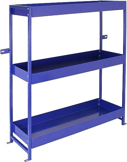 Monster Racking - Estantería Azul para Furgoneta de Acero Inoxidable con 3 Estantes 116,5cm x 115cm x 34,8cm