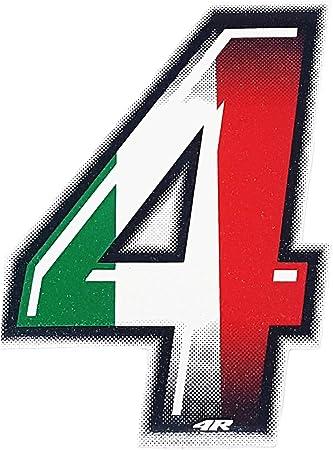 4r Quattroerre It 13234 Startnummer 4 Aufkleber Für Motorräder Italien 10 X 6 5 Cm Flag Auto
