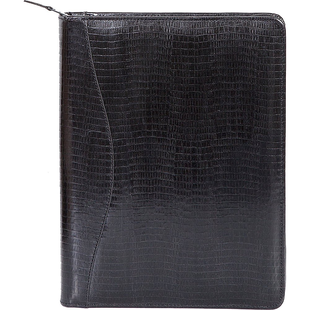 Scully Lizard Embossed Leather Zip Around Letter Pad (Lizard Black)