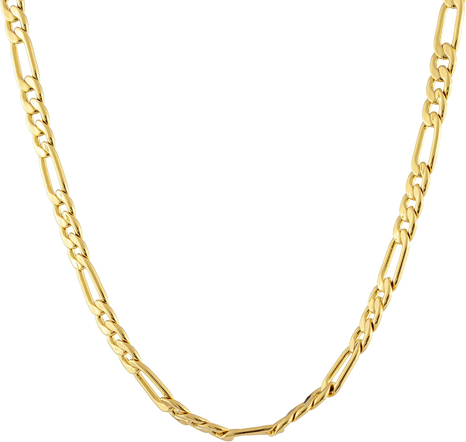 Gold Plated Figaro Chain 4mm New Solid Link Necklace