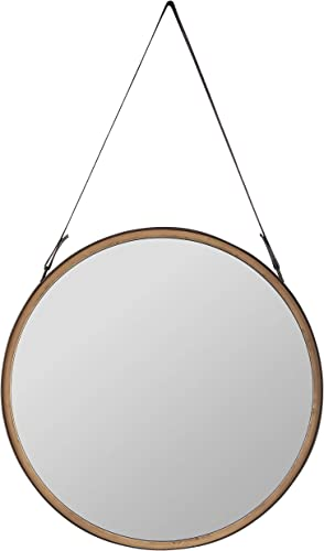 Amazon Brand Rivet Casual Round Mirror, 20.28 Diameter, Wood, and PU Leather