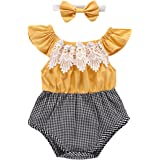 Baby Girl Romper Ruffle Sleeve Lace Plaid...
