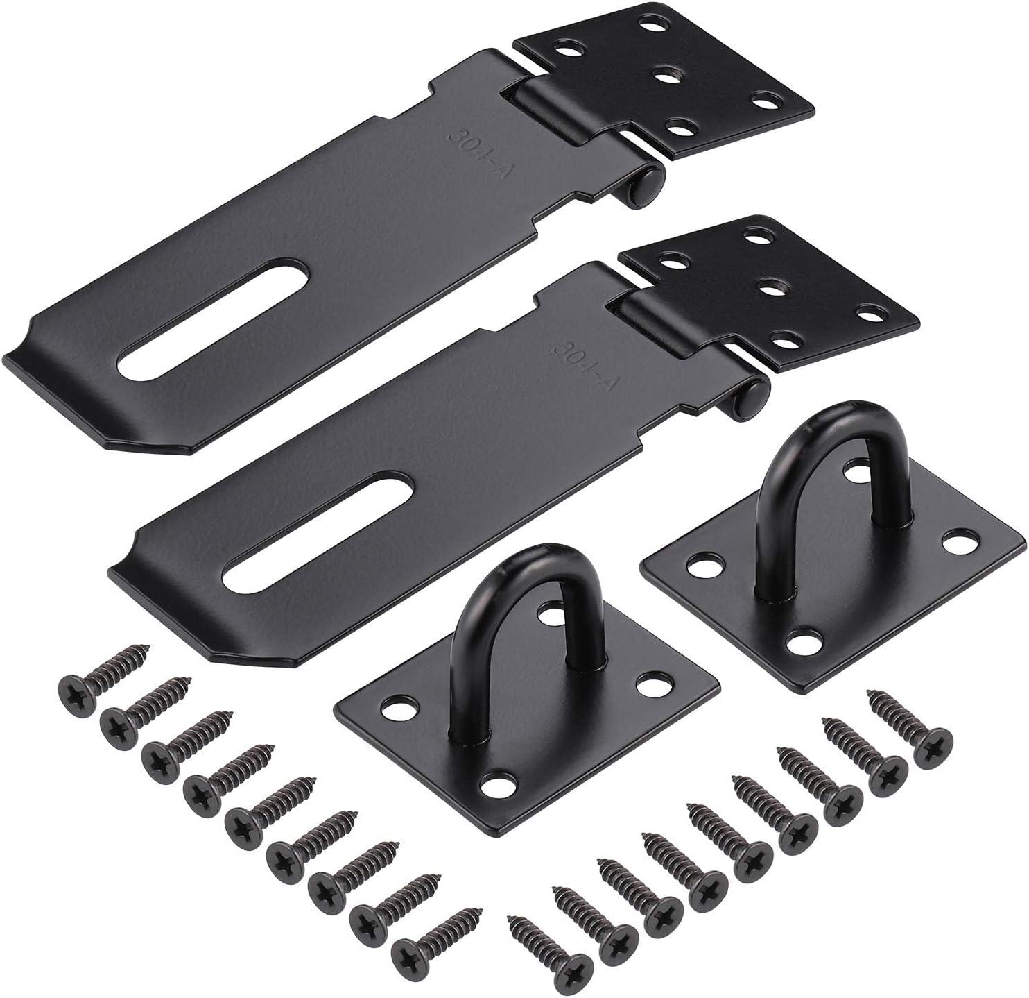 JIZZU - Cerraduras de puerta para puerta de jardín (2 unidades, 7,6 cm), color negro