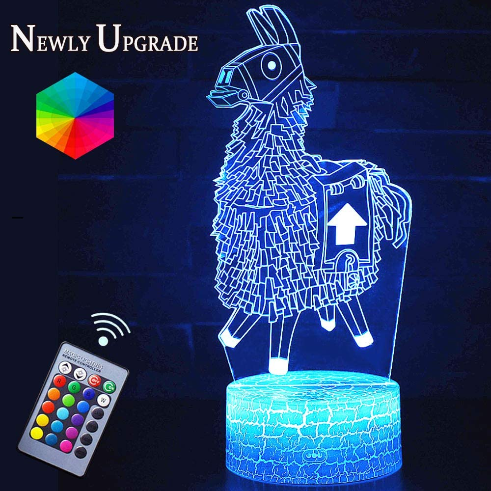 Llama Night Lights Fortress Battleroyale 3D Optical Illusion LED Lamps Nightstand Guidance for Kids Room Best Bday Xmax Gift Choices for Game Lovers Boys(Llama)