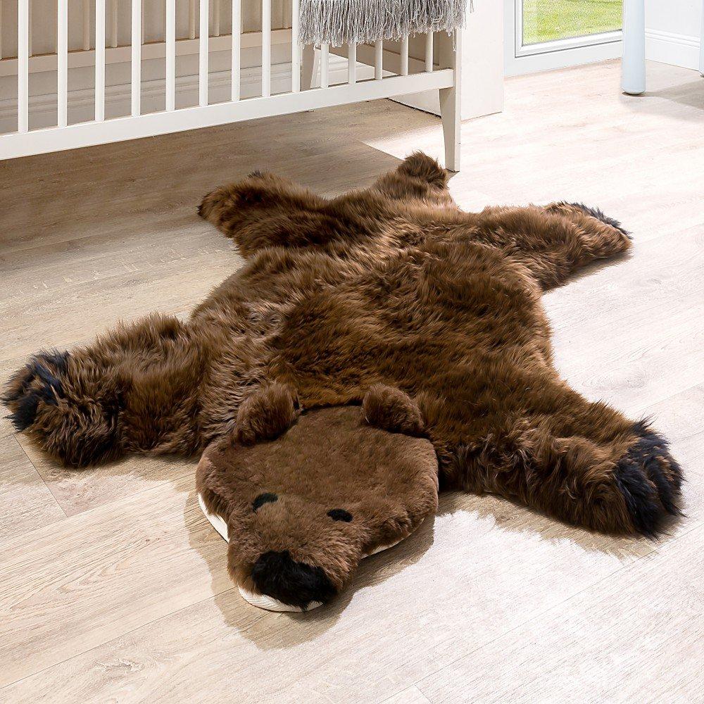 Paco Home Australisches Lammfell Naturfell Spielteppich Kinderzimmer Dekofell Braunbär Braun, Grösse:130x80 cm