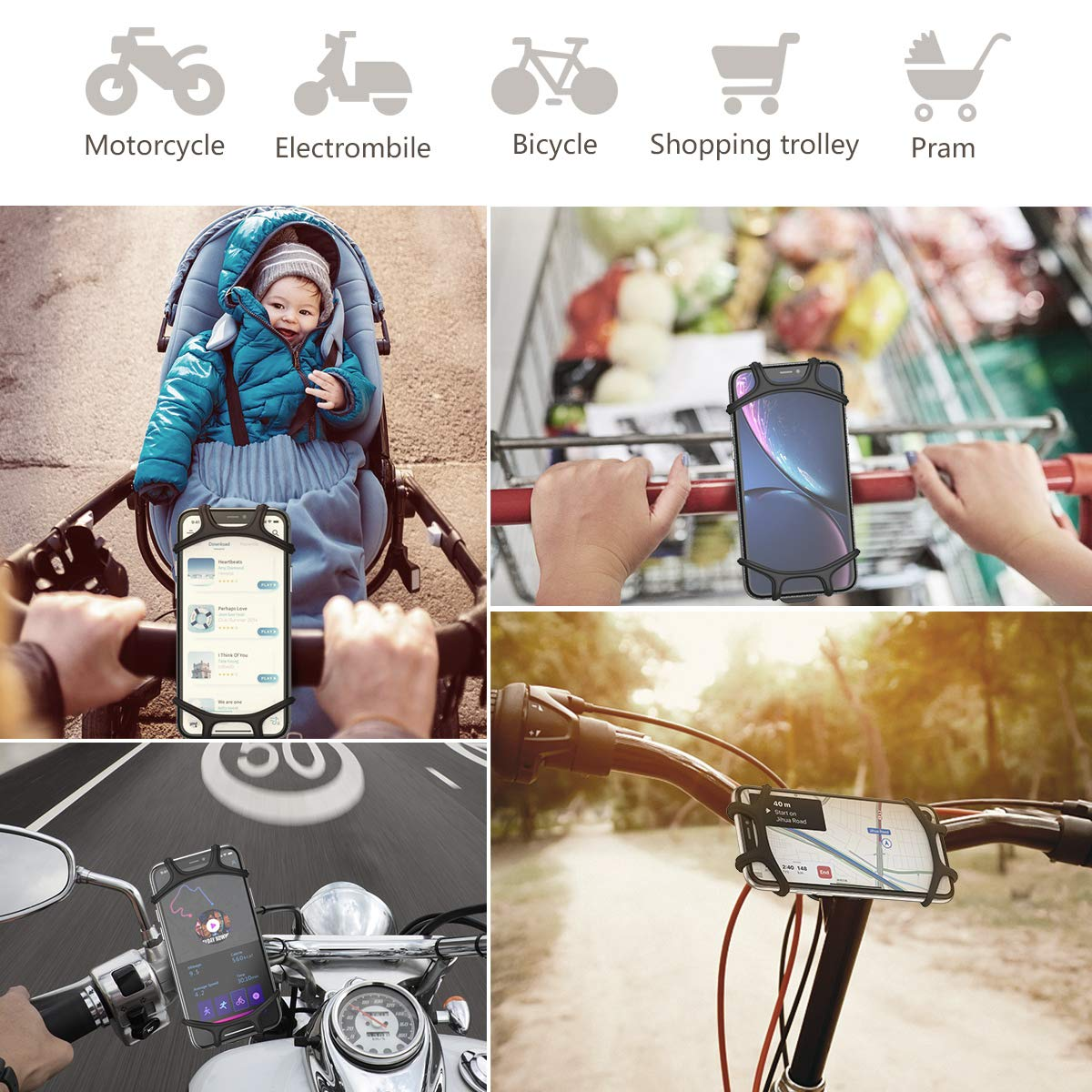 Universal Adjustable Handlebar Mobile Phone Seat Suitable for Mountain Bike//Motorcycle//Stroller//Shopping Cart//Treadmill//Electric Bicycle Supports 4.5-6 Inch Smartphone Use CTXTKER Bike Phone Mount
