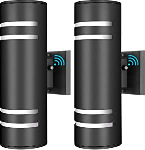 2-Pack Up Down Wall Lights, Dusk to Dawn Sensor Outdoor Wall Sconces, Exterior Wall Lantern Fixture with E26 Base Socket, Wall Mount Lights Anti-Rust Waterproof Matte Black for Patio Garage Doorway