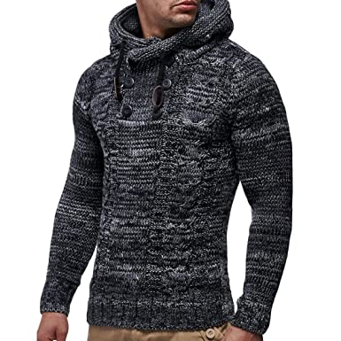 1fbd6834b46 NRUTUP Men s Pullover Knitted Cardigan Coat Hooded Sweater Jacket Outwear