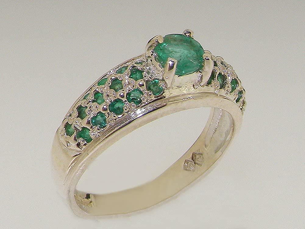 925 Sterling Silver Real Genuine Emerald Womens Wedding Band Ring