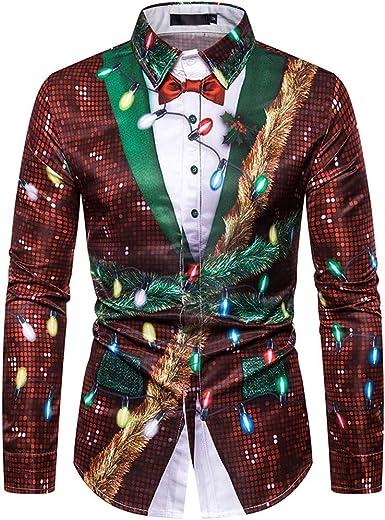 FELZ Navidad Sudadera Hombre De Manga Larga OtoñO Invierno Camiseta De Navidad Estampada con Copos De Nieve Casual Camisas Blusa Top CháNdales, Falso Dos Piezas, Tipo De Traje: Amazon.es: Ropa y accesorios