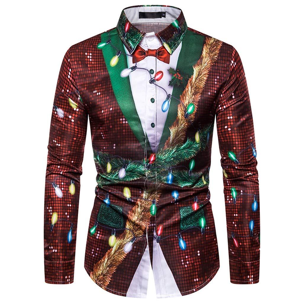nikunLONG Mens Ugly Christmas Tops Tuxedo Long Sleeve T-Shirt Casual Fake Two Pieces Shirt Top Party Blouse