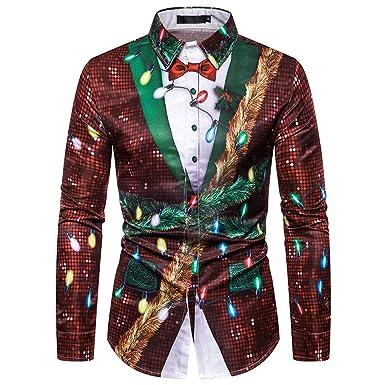 Camisa Casual Hombre Navidad Estampado