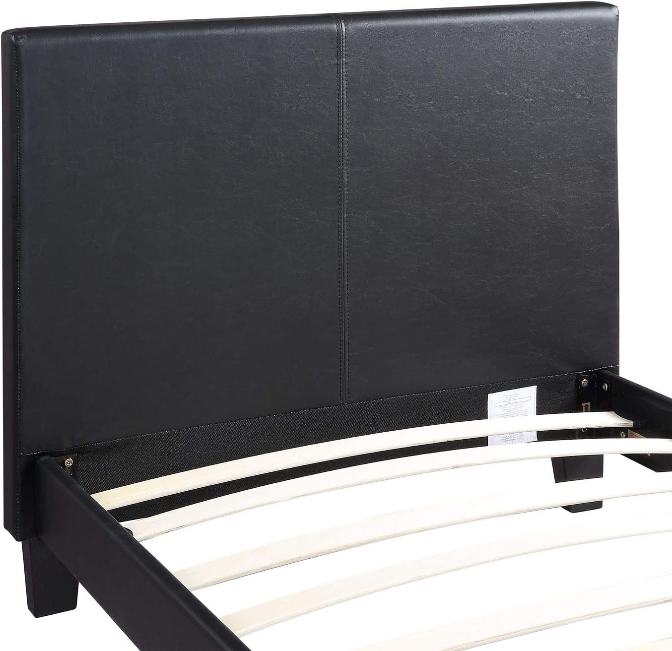 ACVCY Cadre de lit simple noir 90 cm Lit enfant solide avec t/ête de lit haute Meuble de chambre en similicuir Convient pour matelas de 90 x 190 cm