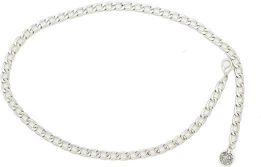 Sz L Chain Link Waist and Hip Belt Vintage Silver Chain Belt Silver Link Chain Belt