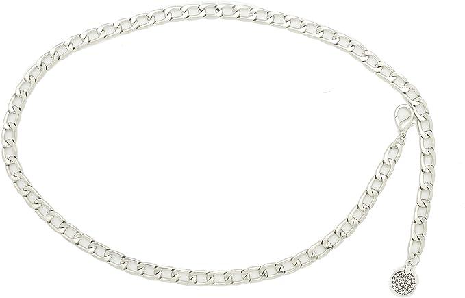 Women Fashion Skinny Waistband Belt Gold Metal Chain Coin Ball Charm Size XS S M
