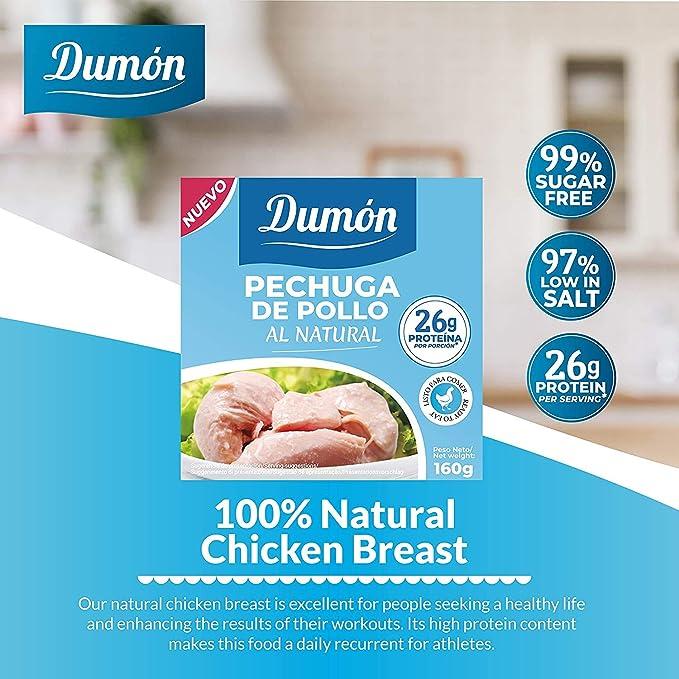 Dumón - 18 Unidades de 160 gr de Conservas de Pechugas de Pollo en su Propio Jugo o Agua. Alimento Enlatado Alto en Proteínas, 26 gr cada 100 gr de ...