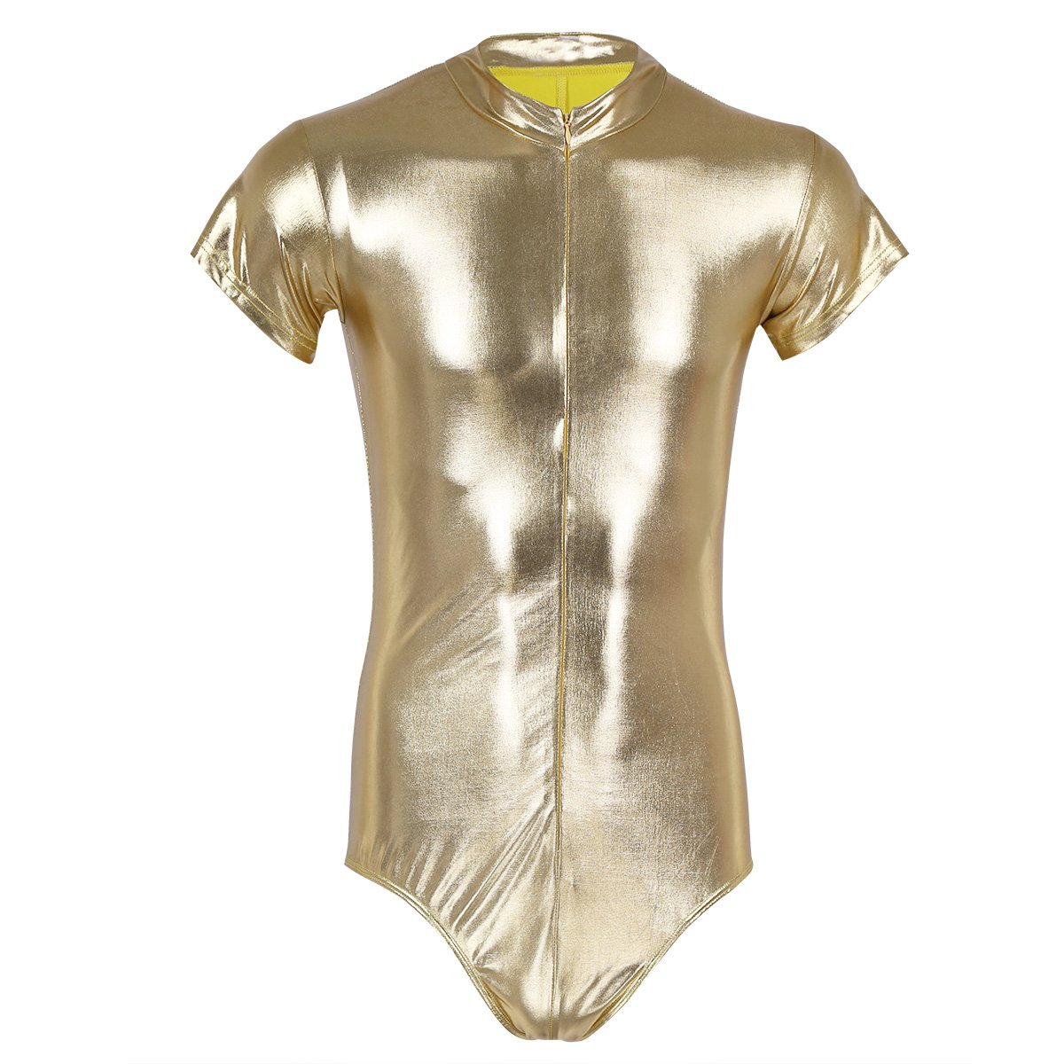 CHICTRY Men's One Piece Wet Look Shiny Metallic Leather Short Sleeve Leotard Bodysuit Gold X-Large