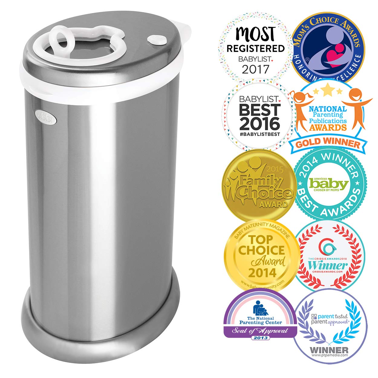 Ubbi steel odor locking diaper pail