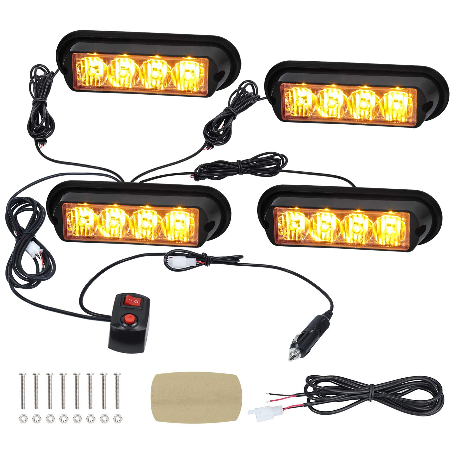 Linkitom 4pcs 12V-24V Amber Sync Feature Surface Mount Grille Warning Safety Flashing Beacon Strobe Lights with Cigar Lighter for Construction Vehicle SUV Tow Truck Van