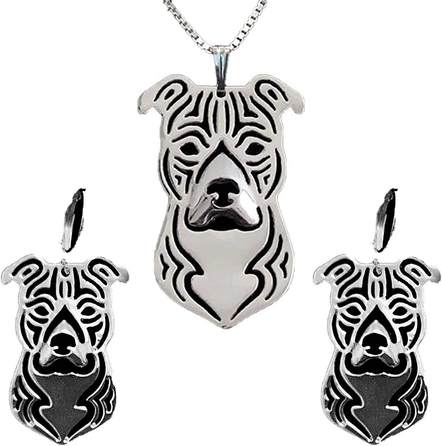 high qauality Art Dog American Staffordshire Terrier2 silver covered necklace
