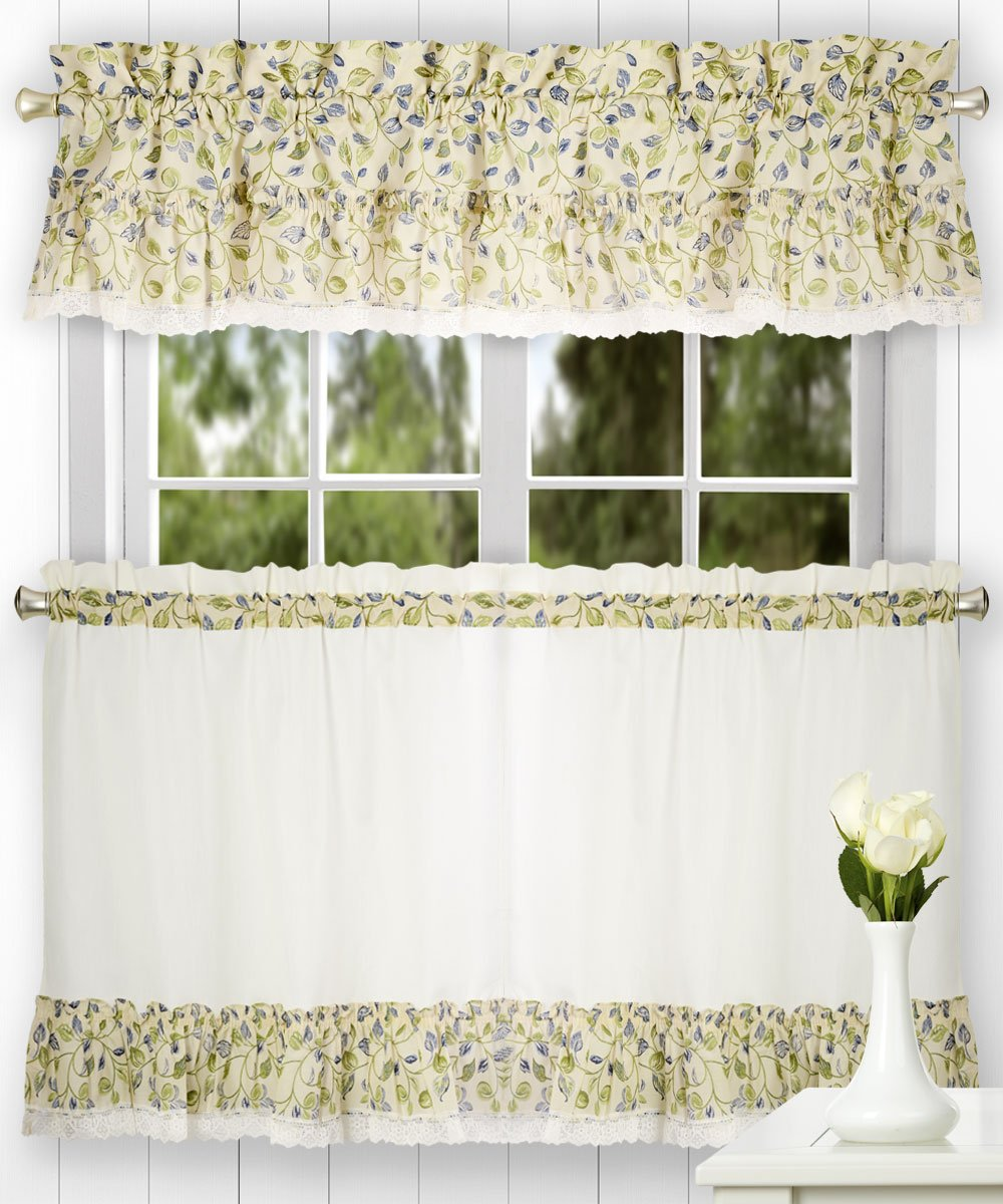 Ellis Curtain Clarice 52-by-12 Inch Ruffled Valance, Blue