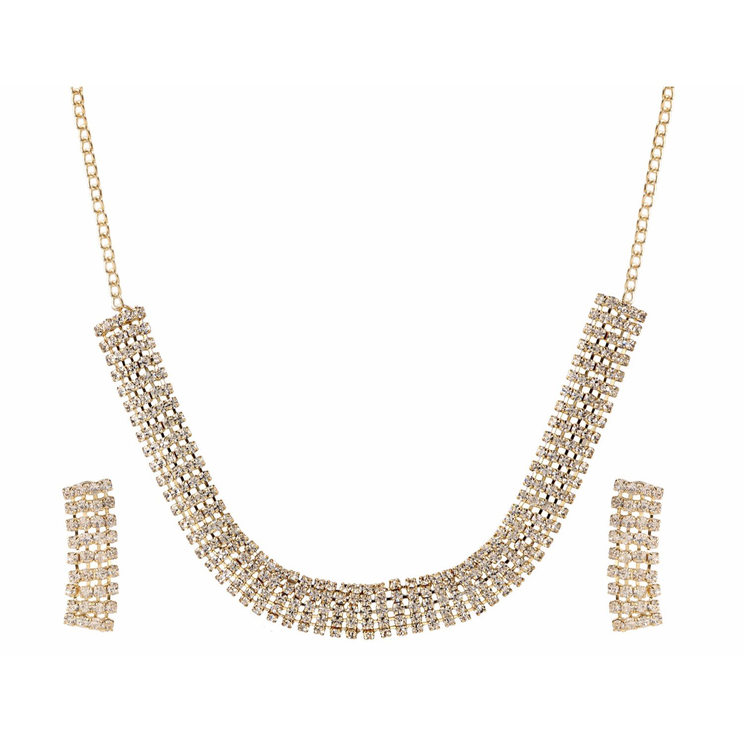 Efulgenz Round Chunky Collar Strand White Rhinestone Gold Plated Choker Statement Necklace Fashion Costume Accessories for Women and Girls (Style 7)