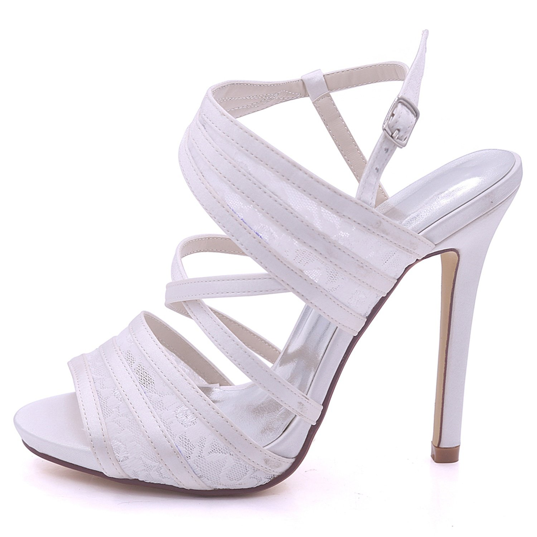 Elobaby Frauen Hochzeit Schuhe Kätzchen Spitze Satin High Heels Peep Peep Peep Toe Dance Fashion Abend   11,5 cm Ferse  c2d9d6