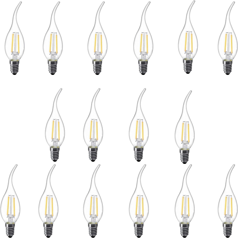 L-HM C35 Flame tip LED Light Bulb for Vintage Antique Chandelier and Candelabra 2W 2700K E12 Base Pack of 8