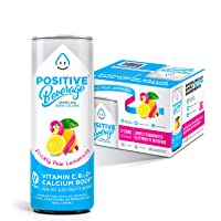 Positive Beverage Prickly Pear Lemonade, Zero Calorie, Electrolyte Beverage with Vitamins and Calcium, 12fl oz Cans, 12 Count Case